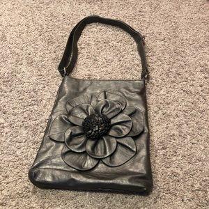 Handbags - Pewter Gray Crossbody Bag with Flower Detail